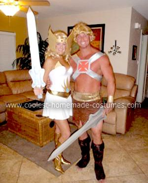 Homemade She-Ra and He-Man Couple Costume: I grew up watching these classic Saturday morning cartoons while I played with my He-man and She-Ra action figures! When I discovered that these costumes