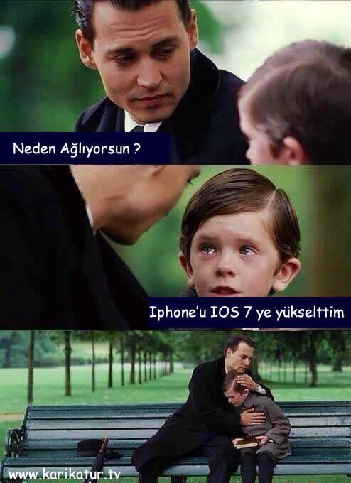 Iphone IOS 7 IOS 5 ke karşı karikatür