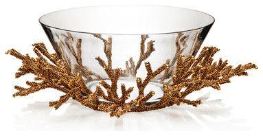 Kim Seybert Golddust Bead Coral Bowl tropical serveware