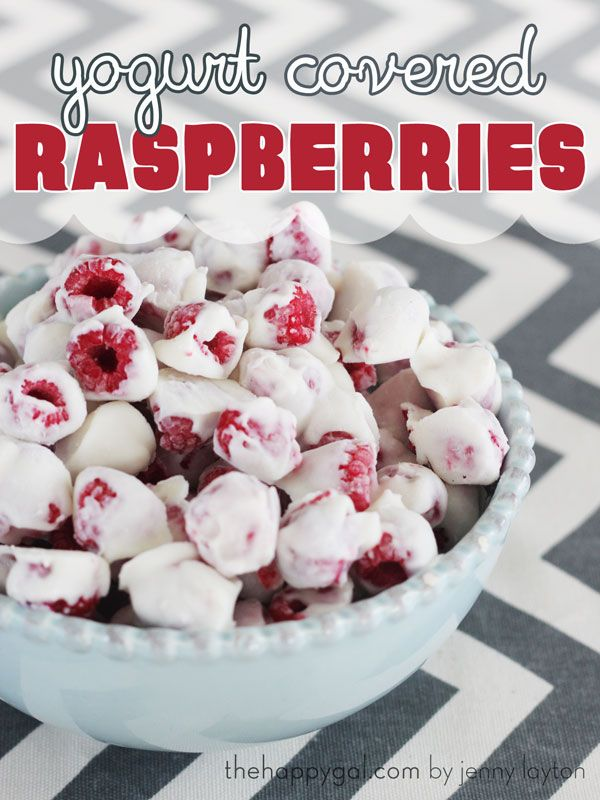 If you like raspberries, you will love this recipe for frozen yogurt covered raspberries. The perfect snack! #thehappygal #frozenraspberries #healthysnack