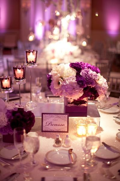 Guest table: Purple Reception Centerpiece