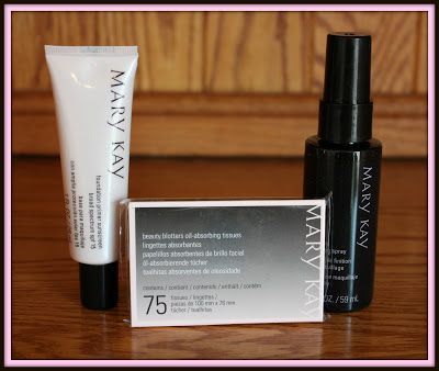 Mary Kay Product Review...Mary Kay Beauty Blotters Oil Absorbing Tissues, Mary Kay Foundation Primer Sunscreen Broad Spectrum and Mary Kay® Makeup Finishing Spray.