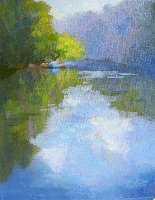 "beautiful... artist Keiko Richter $190 ""A Blue Boat by the River""14 x 11 in  oil on canvas  This is a plein aire painting of Chattahoochee River . The trout fishing is very popular."
