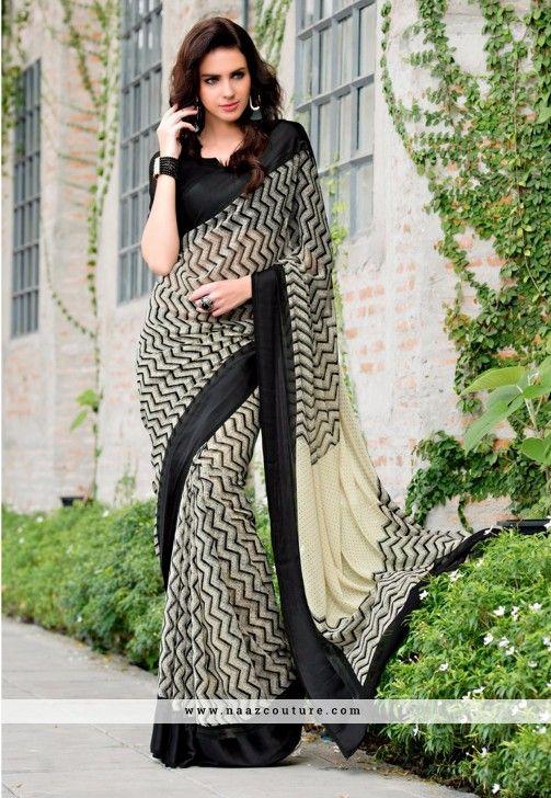 Suave Off White And Black Printed Saree