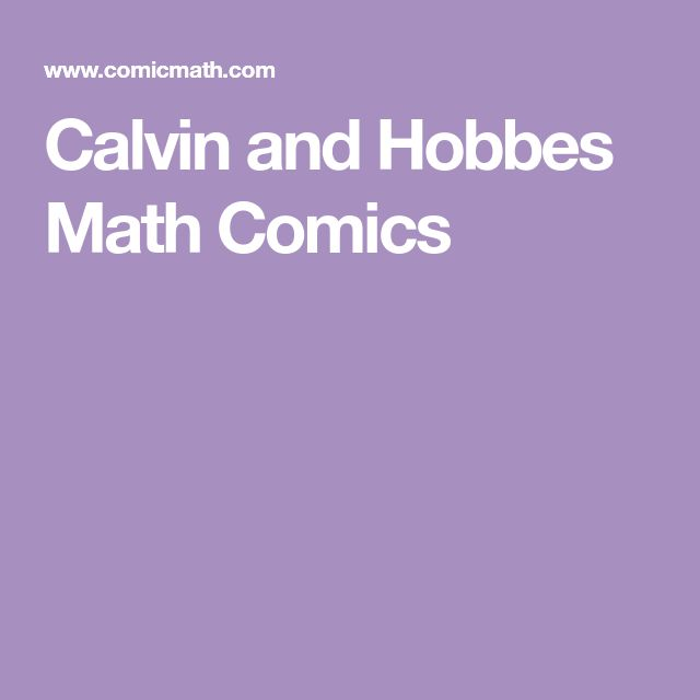 Calvin and Hobbes Math Comics