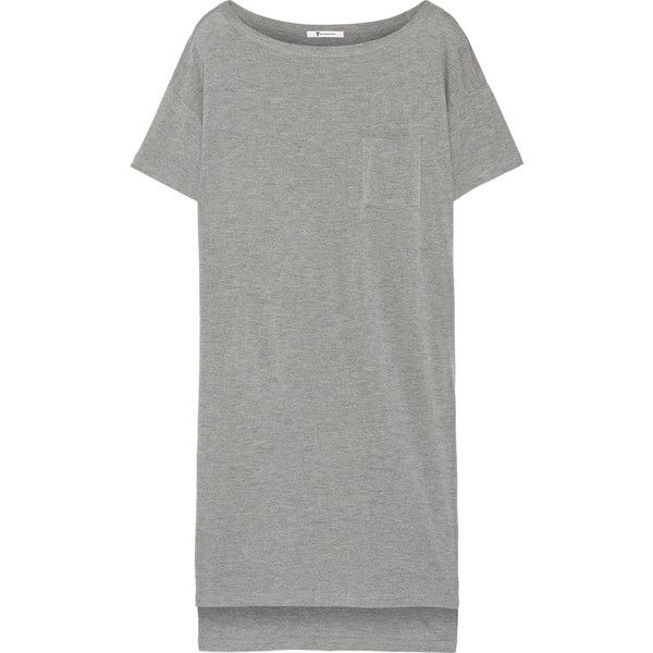 T by Alexander Wang Classic jersey mini dress found on Polyvore featuring dresses, grey, tshirt dress, mini dress, jersey t shirt dress, short gray dresses and jersey dress
