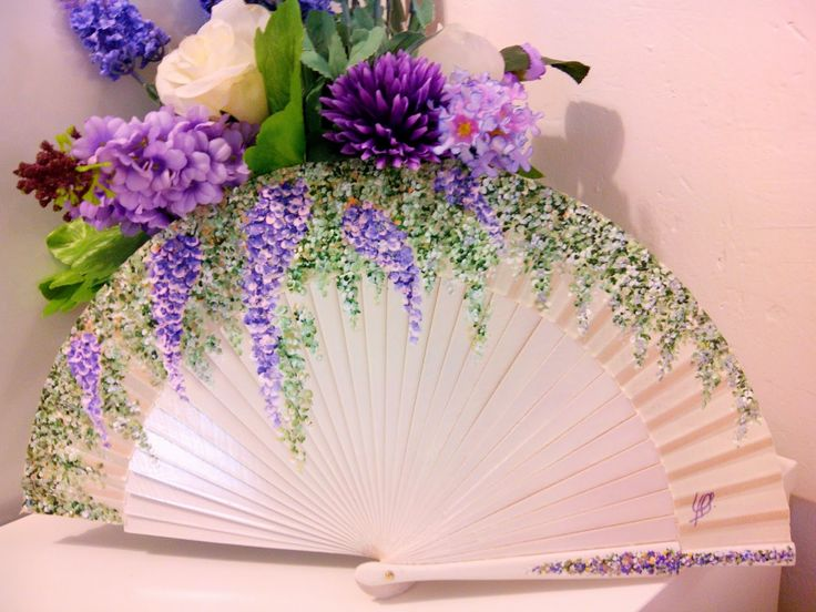 Artesanía y Diseño Adagio : Abanicos pintados a mano wisteria / Fuji folding fan hand fan
