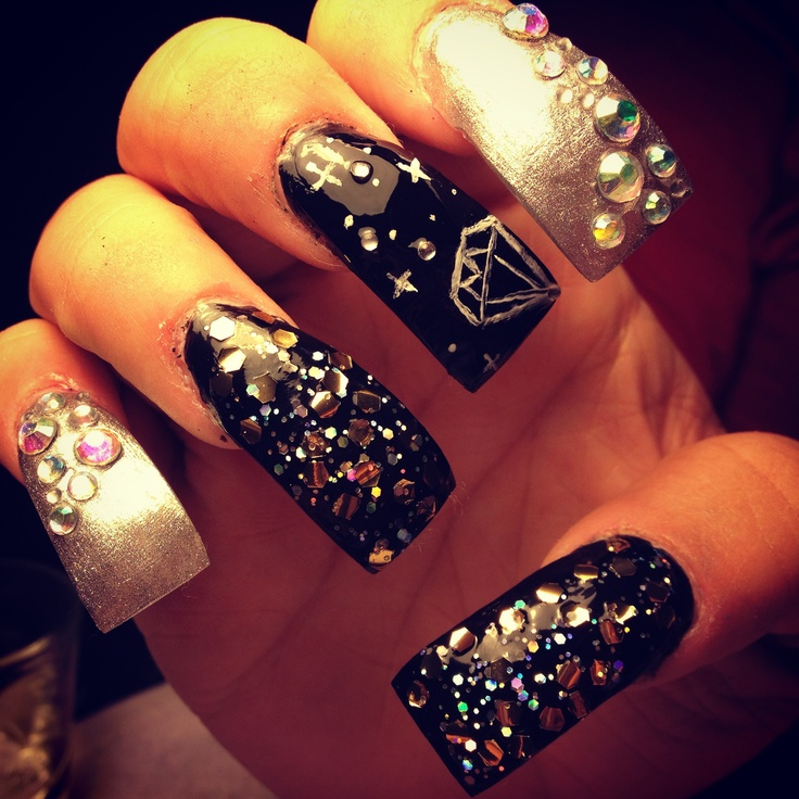 22 best crazy nails images on pinterest make up nail designs long nails with ghetto fab theme nail art prinsesfo Images