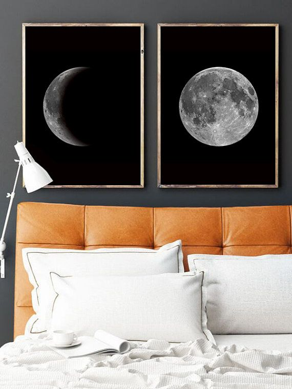 Custom Moon Wall Art. Choose Phase and Size!  This listing is for a DIGITAL FILE of this artwork. No physical item will be sent. You can print the file at home, at a local print shop or using an online service.   HOW DOES IT WORK?  1. Selec the phase and puchase this listing. 2. Add in the note to seller section the size you want. 3. Your custom digital file will be ready within 24 hours and sent to your e-mail!  Each JPG & PDF is high-resolution (300 dpi), which will get you very clean…