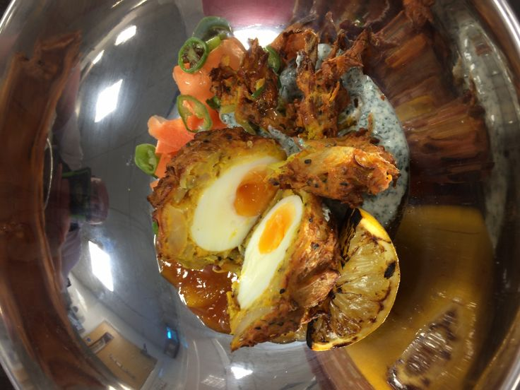 Scotch egg with onion bhaji coating