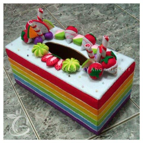 Tissue box Rainbow Cake 02   Kartu kertas, Kreatif, Kotak