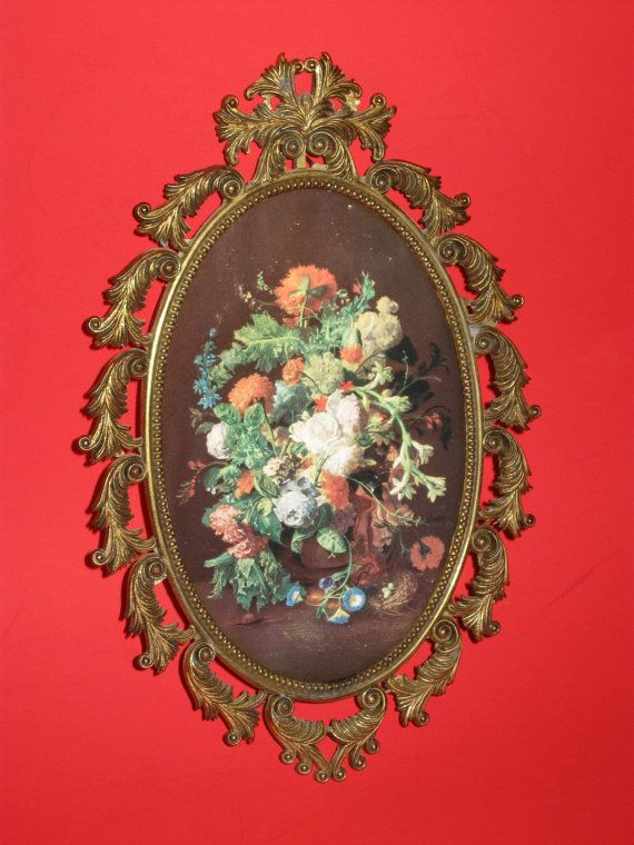 Metal Ornate Picture Frame FR  Made in Italy #ornate #italy #floral #flowers #decor #vintage