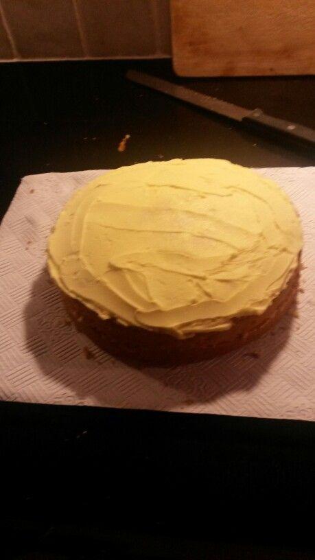 Ashley's birthday cake 2014. Lemon sponge with lemon buttercream icing.
