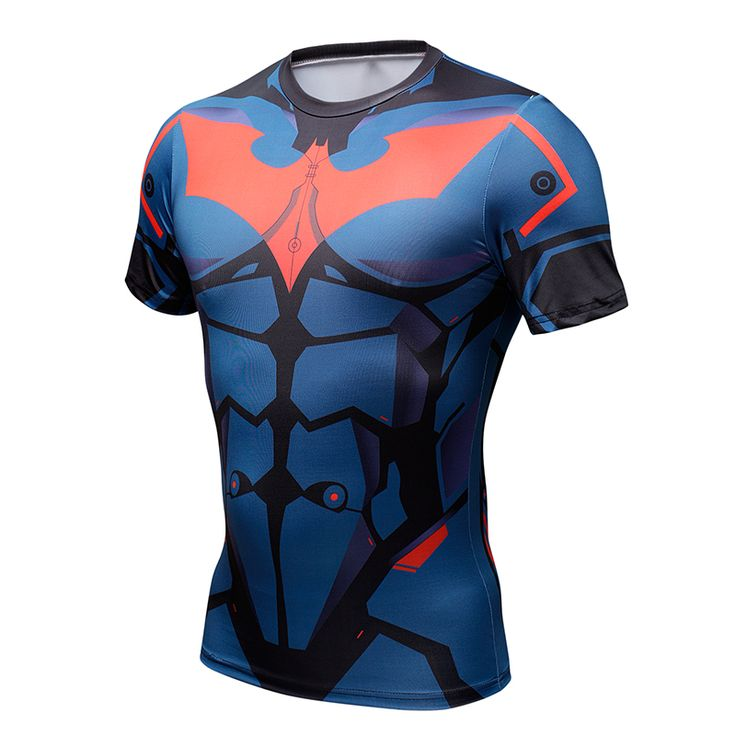 cool Rashguard Short Sleeve Tee Shirt Crossfit Batman Beoynd DC Comics  -  This t-shirt looks like natural superhero gear! Fits perfectlyrash guard tee shirtis ideal for sport and daily usage. This shirt containslycra, which allows material stretch to the several sizes and comes back to normal size. Perfectly breathtissue, the color doesn't fade over time.