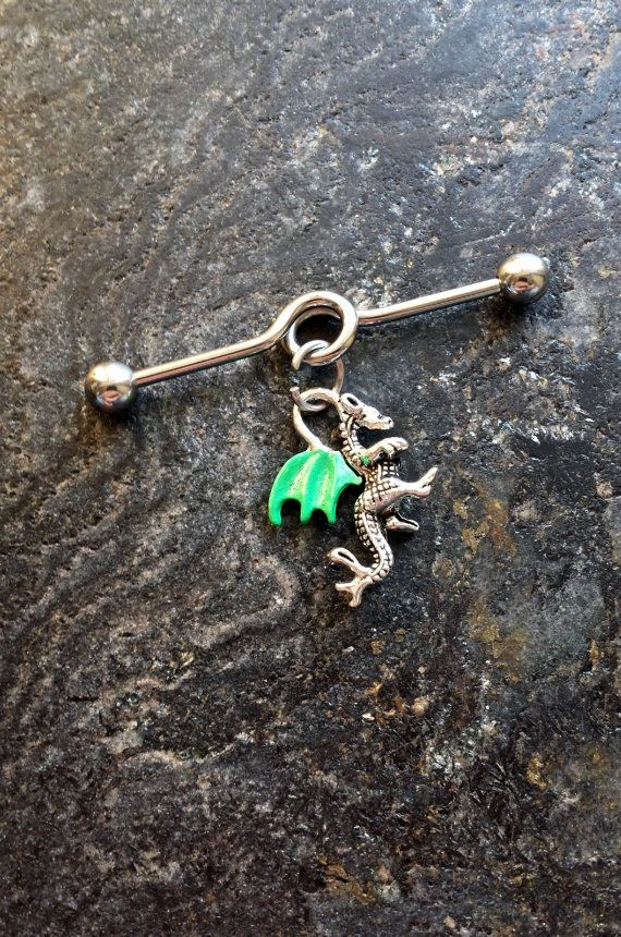 Hand Painted Dragon - 14G (1.6mm) Industrial Barbell Scaffold Piercing Jewelry (32mm, 35mm, or 38mm!)