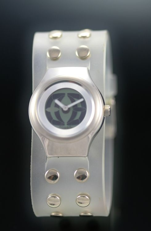 Fossil Big Tic Youth Silver Jelly Clear 50m WR SS Easy Read Quartz Watch