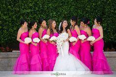 Hot Pink and White wedding \\ Photo Credit: Lin and Jirsa Photography #hotpinkwedding #bridesmaids #whitebouquet