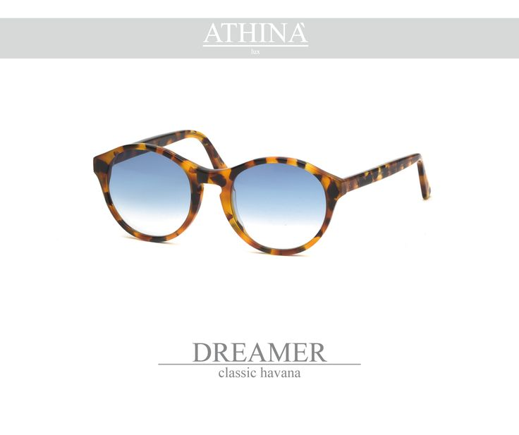 Mod. DRE0202G02 Handmade in a classic havana acetate of cellullose with gradient blue lenses.