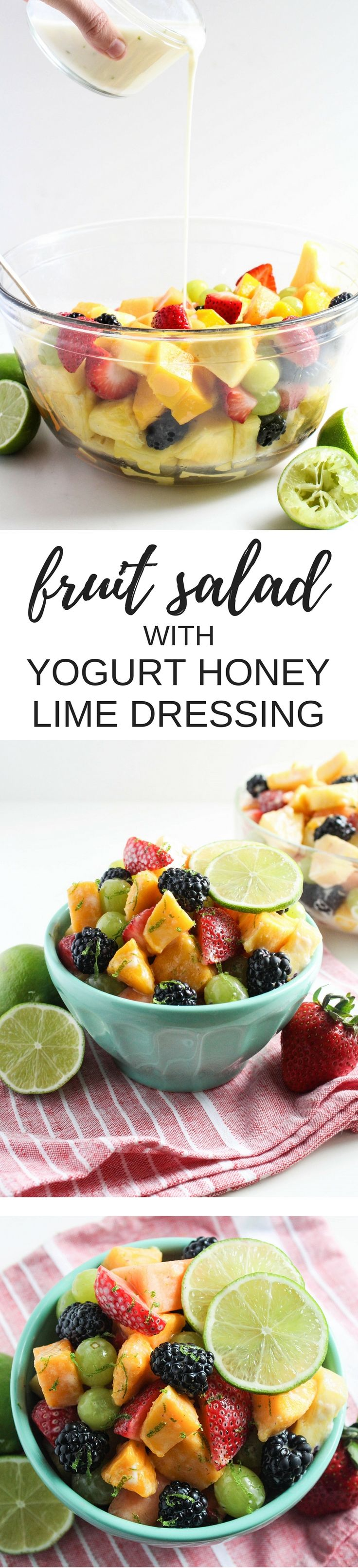 This Fruit Salad with Yogurt Honey Lime Dressing is the perfect side dish for any breakfast! Make it for a healthy addition to a brunch spread, potluck, or picnic. | healthy breakfast recipes | fruit salad recipe |