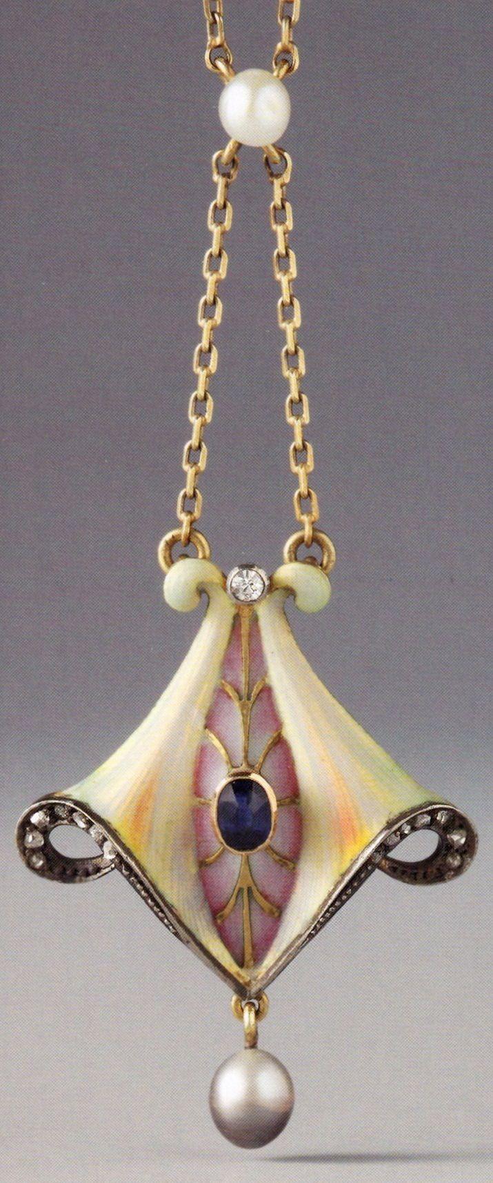 A Jugendstil / Art Nouveau pendant, German, 1903-1910. Composed of gold, silver or platinum, enamel, sapphire, diamonds and pearls. 3.4 x 2.5cm. Source: Wolfgang Glüber, Jugendstilschmuck