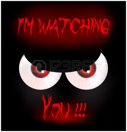 Image of Happy Halloween spooky background Flat design. Vector illustration of invitation card with scary bloody eyes, eyeballs with sign I'm watching you.