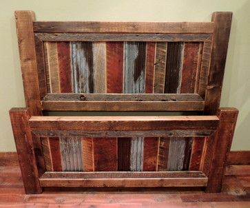 rustic headboard with wood and corrugated tin inlay | All Products / Bedroom / Beds and Headboards / Beds