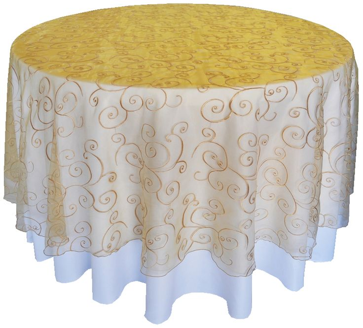 Wholesale Gold Round Embroidered Swirl Table Overlays Topper Overlay Organza Linens Embroidery Cover