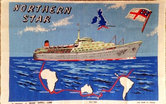 Northern Star Shaw Savill Line Tea Towel