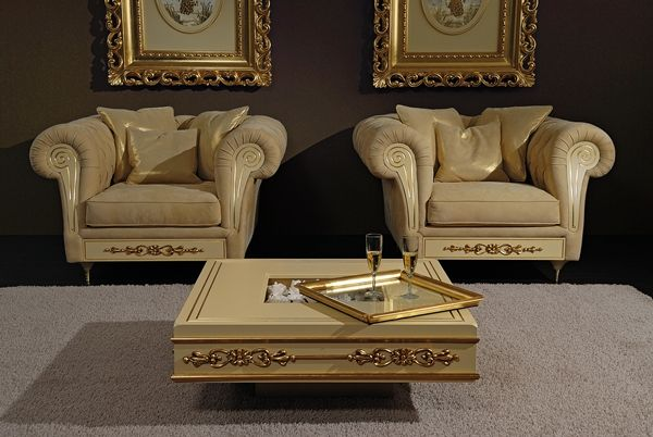 Chester armchair Baroque in nabuk leather and gold foil detail for a luxury living room