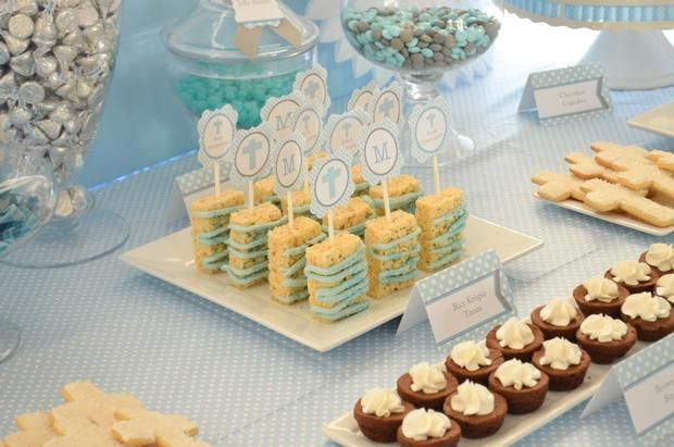 Rice Krispy Treats with cupcake toppers as decor:  Hostess with the Mostess® - Boy First Communion
