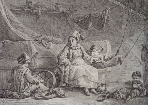 """Femmes de l'isle de Siphanto (Women from Sifnos [Cyclades])"", copper engraving, 29 x 36 cm. Drawn by J.B.Hilaire, engraved by A.J.Duclos. From Marie-Gabriel-Florent-Auguste de Choiseul-Gouffier, ""Voyage pittoresque de la Grèce"", Paris 1782  © Peloponnesian Folklore Foundation, Nafplion, Greece"