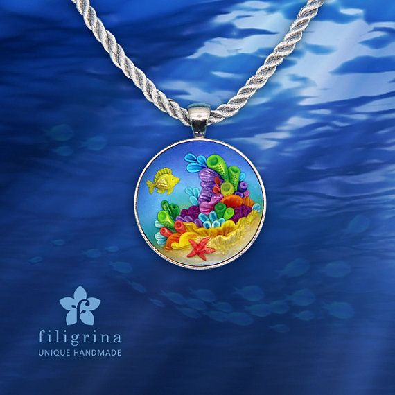 CORAL REEF fish pendant silver tone round bezel by Filigrina