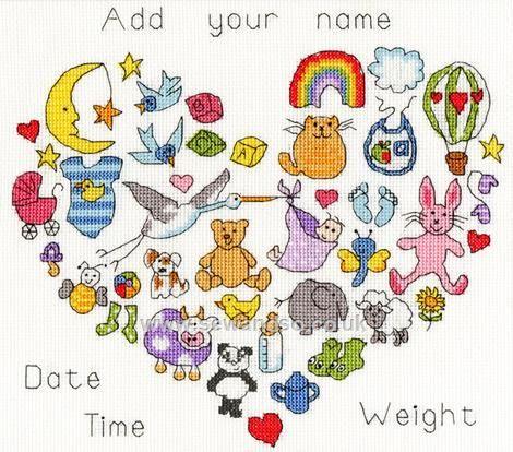 Buy Baby Heart Cross Stitch Kit Online at www.sewandso.co.uk