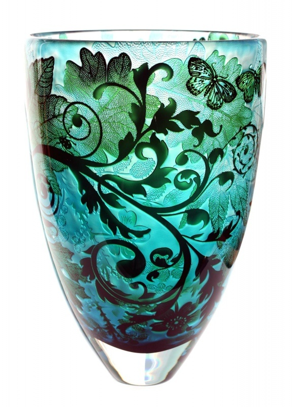 wild wood with butterflies vase, by jonathan harris.