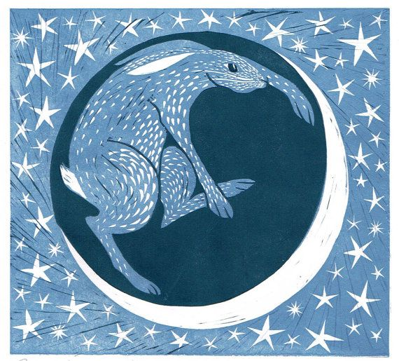 Two Plate Linocut, The Night Hare, Lino Cut, Lino Print, Printmaking, Nursery Art, Children's Art