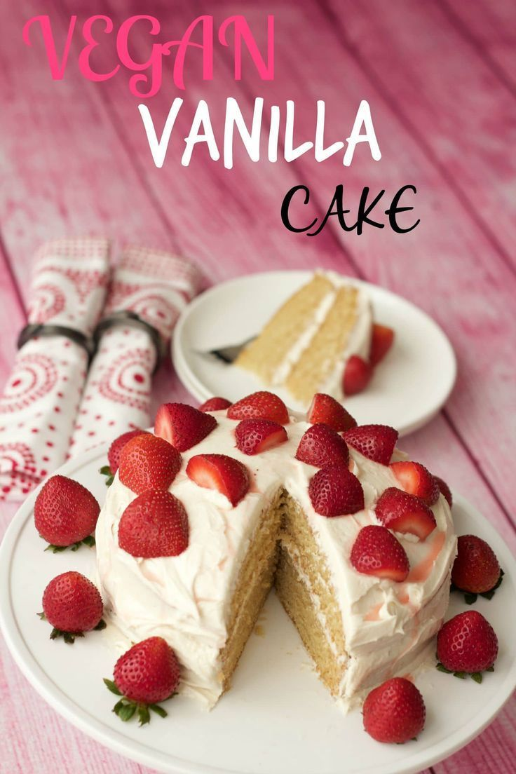 Light Fluffy And Delicious Vegan Vanilla Cake Two Layers Of Vanilla Sponge Topped With A Velve Vegan Vanilla Cake Vegan Birthday Cake Dairy Free Vanilla Cake