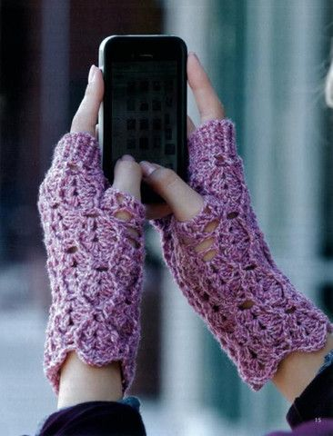 When it's cold outside, you need texting mitts! These fingerless gloves keep your hands toasty while you stay in touch. These eight designs by Andee Graves are really soft and comfy to wear because th