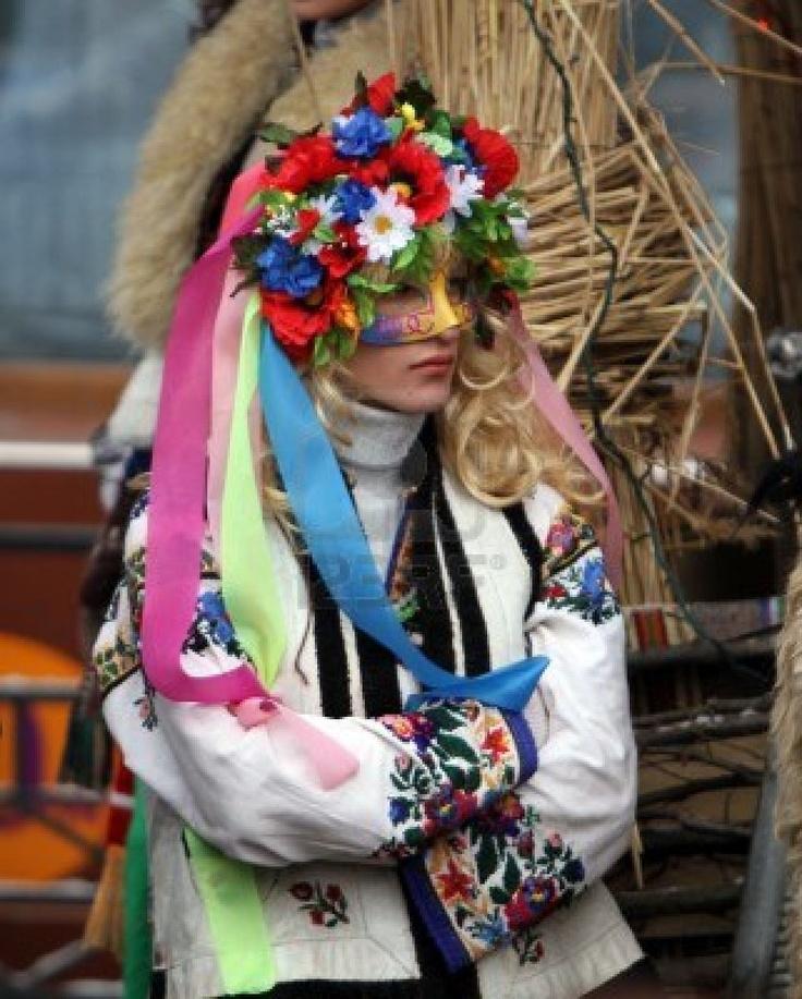 dressed girl on Malanka Festival in Chernivtsi, Ukraine