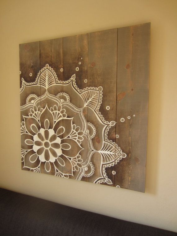 Mandala artwork painted on rustic wooden original hand. Size: