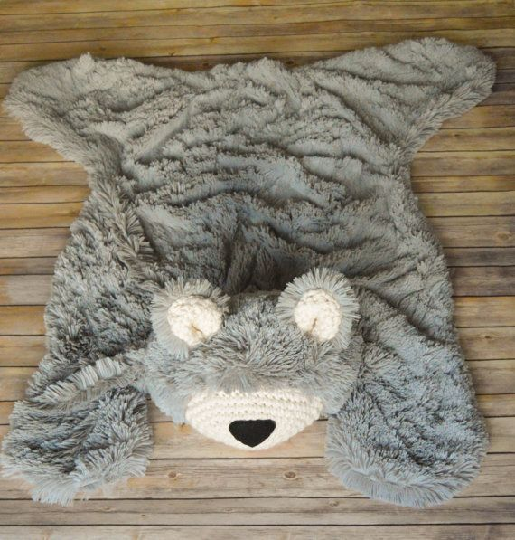 Nursery Rug Large Size Bear Grey Minky Woodland Baby