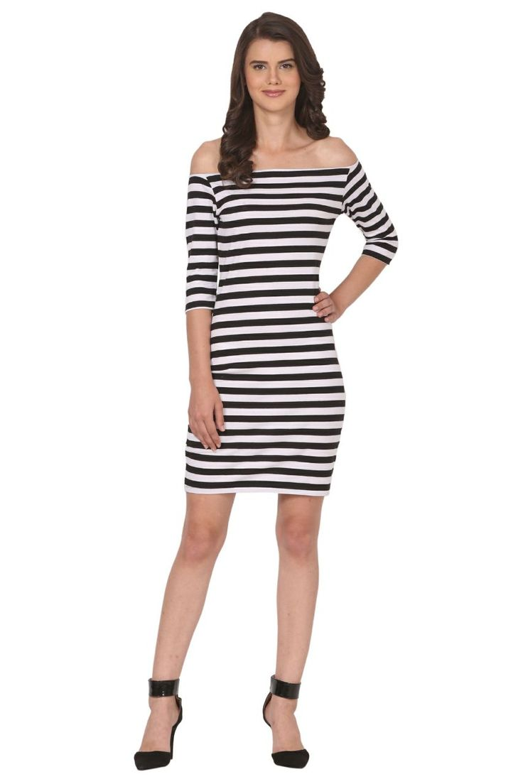 Off shoulder striped one piece black and white color
