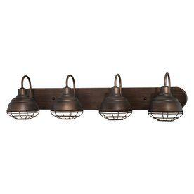ooo - i like these - Millennium Lighting 4-Light Neo-Industrial Rubbed Bronze Bathroom Vanity Light