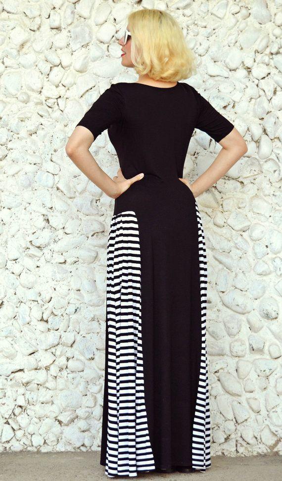 Black Striped Maxi Dress TDK180 Loose Maxi Dress Black Maxi