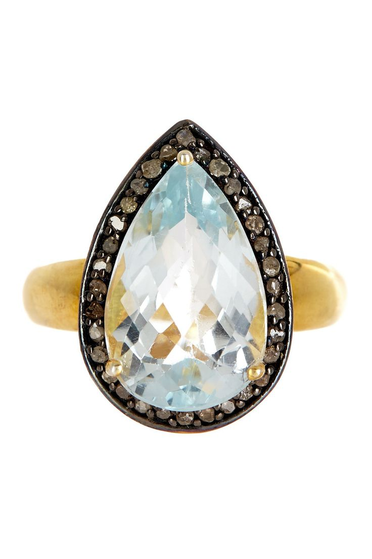 Diamond Halo Blue Topaz Champagne Ring - 2.10 ctw on HauteLook