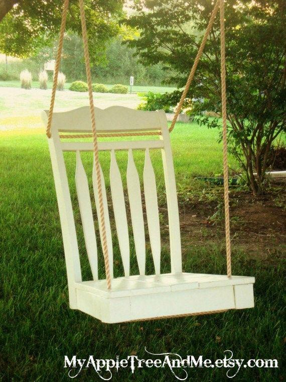 Repurposed Dining Room Chair Tree Swing.