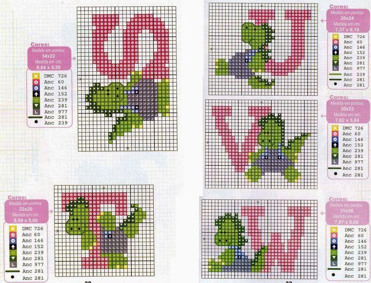 Alfabeto con dinosaurios, para punto de cruz.   Oh my Alfabetos!
