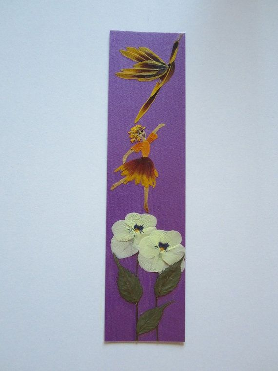 """Handmade unique bookmark """"Wait for me, we'll fly together"""" - Decorated with dried pressed flowers and herbs - Original art collage."""