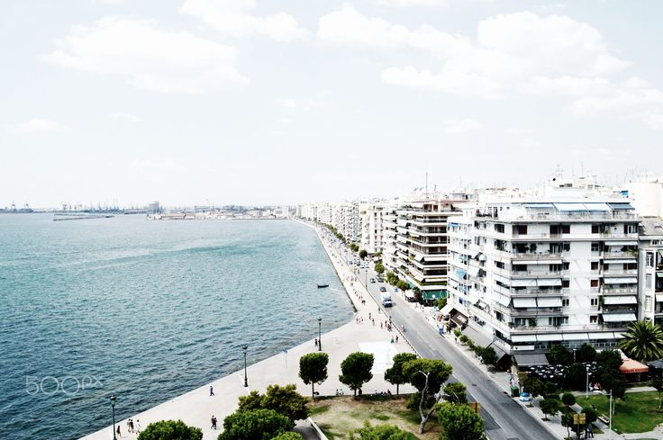 View from above in the waterfront of Thessaloniki, Greece.