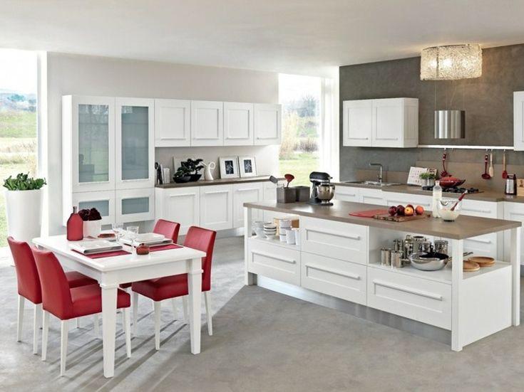 amnager une cuisine design avec ilot central - Cuisine Moderne Rouge Et Blanc
