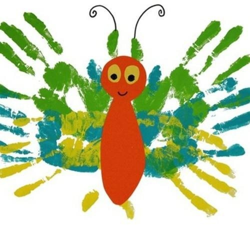 Handprint butterfly - looks like the very hungry caterpillar
